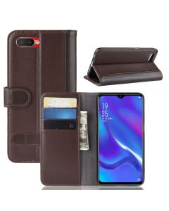Genuine leather OPPO K1 Phone Case Wallet Flip Cover Stand Display Card Pocket