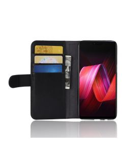 Genuine leather OPPO R15 Phone Case Wallet Flip Cover Stand Display Card Pocket