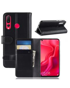 Huawei Nova 4 Phone Case Wallet Flip Cover Folio Genuine Leather Case Stand Display Card Pocket
