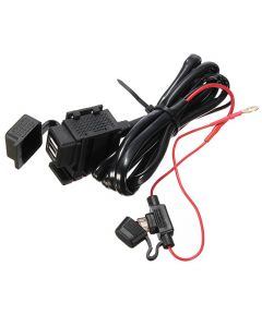 Waterproof universal USB Power Port with Fuse & Bracket for Motorcycle