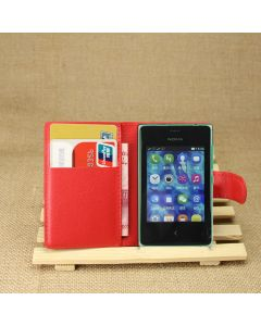 Nokia Asha 502 Phone Case Wallet Flip Cover Leather Stand Display Card Pocket