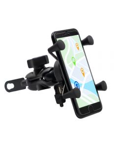 Phone holder with USB Power port Mounted on Bycycle or Motorbycycle