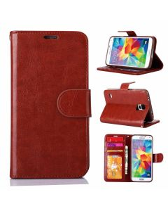 Samsung Ultra Slim Wallet Flip Cover Leather Phone Case Kickstand Card Pocket-Brown-Galaxy S5