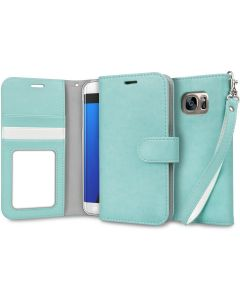 Samsung Ultra Slim Wallet Flip Cover Leather Phone Case Kickstand Card Pocket-Mint-Galaxy S7 Edge