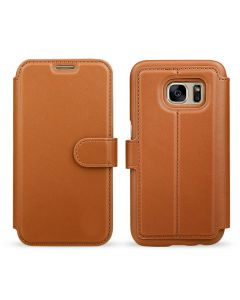 Samsung Ultra Slim Wallet Flip Cover Leather Phone Case Kickstand Card Pocket-Brown-Galaxy S7
