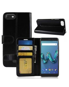 Wiko tommy 3 Flip Folio Leather Wallet Case with ID and Credit Card Pockets