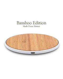 Wireless Charger Bamboo Qi Charging Pad Ultra Slim & Sleep-Friendly