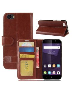 ZTE A6 Lite Flip Folio Leather Wallet Case with ID and Credit Card Pockets