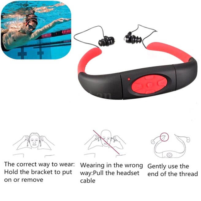 Waterproof Sport Headset MP3 Player FM Radio Swimming Surfing Diving Cool