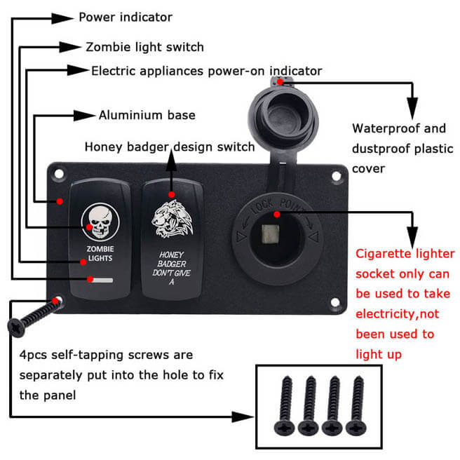 5-Pin Aluminium Combination Switch Panel with Dual Switch and Cigar Lighter for Auto Yacht Boat