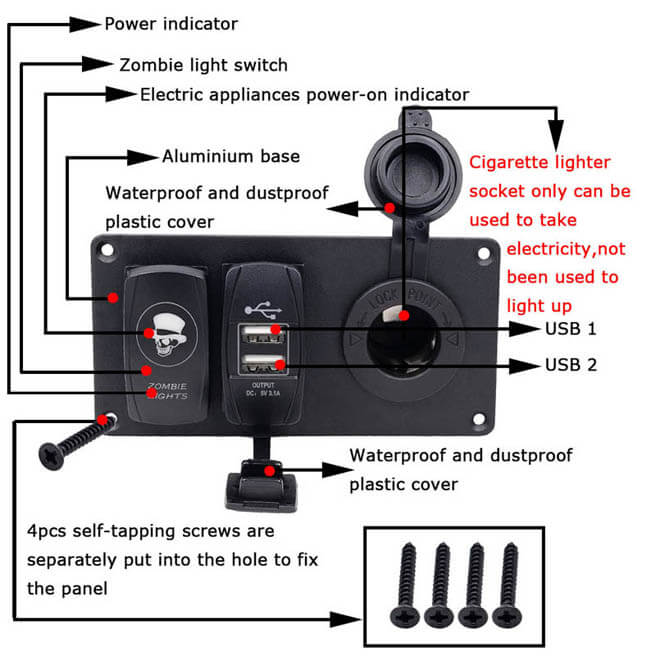 5-Pin Aluminium Combination Switch Panel with Switch and Dual USB and Cigarette power lighter for Auto Yacht Boat
