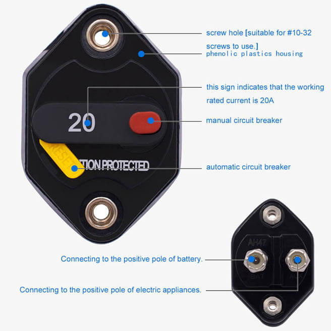 Circuit Breakers with Switch Ignition Protected Panel Mount Manual Reset