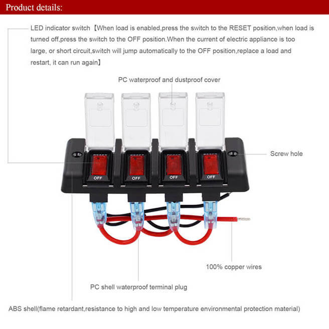 Automatic Reset Circuit Breaker with indicator 4 Circuit 16A