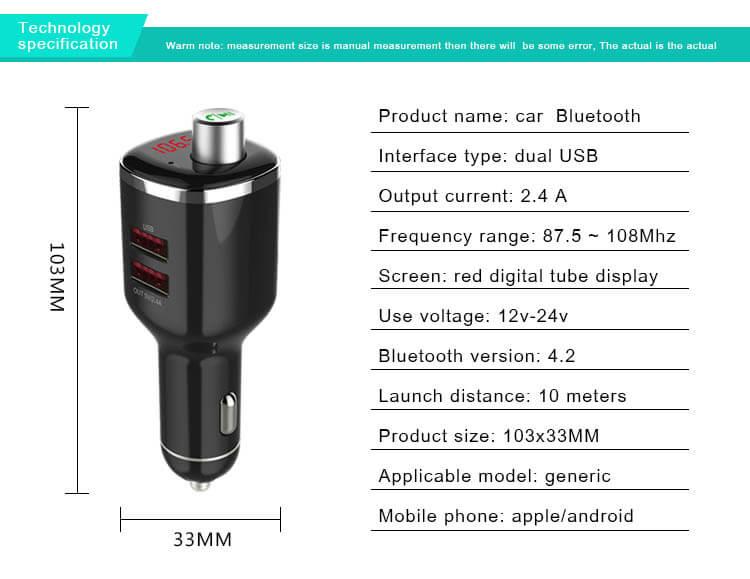 Bluetooth FM Transmitter 3 in 1 TTLET Car charger Voltage detection Mp3 U disk