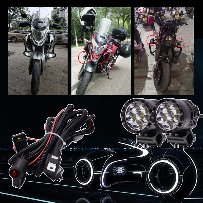 2pcs 6 beads LED Headlight smaller Aluminium body with accessories kit for Motorcycle, Electric bike