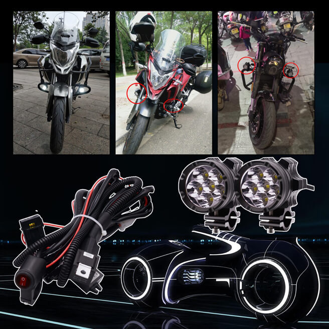 2pcs 6 beads LED Headlight in Aluminium shell with accessories kit for Motorcycle, Electric bike