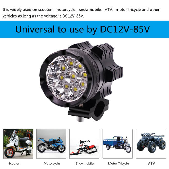2pcs 9 beads LED Headlight in Aluminium shell with accessories kit for Motorcycle, Electric bike