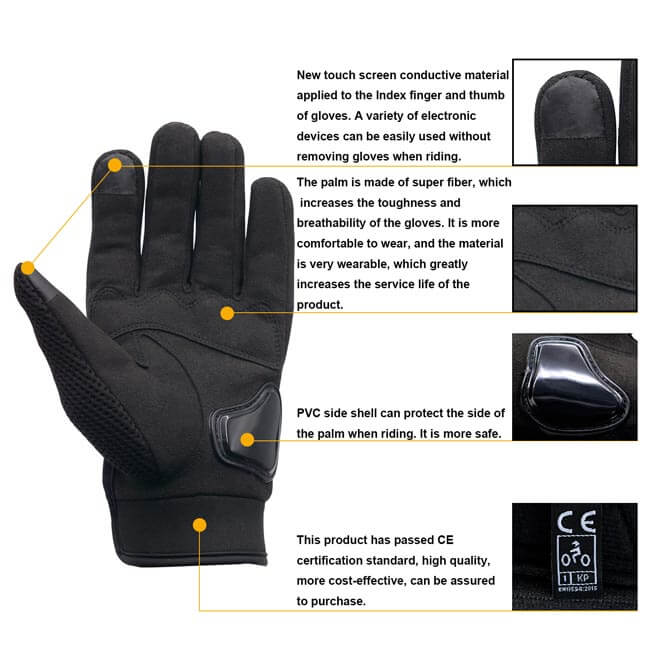 Bike Full Finger Summer Gloves Touch Screen Unisex Riding gloves