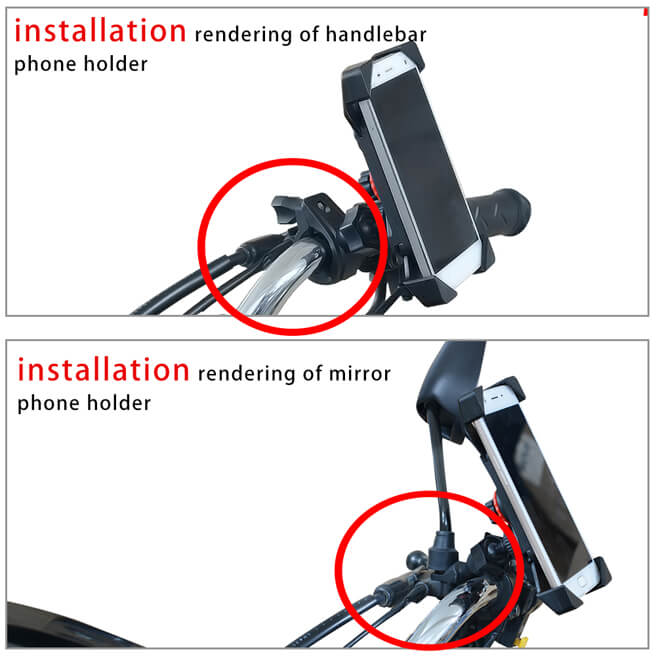 Adjustable & Rotatable Phone holder Mounted on MotorBike