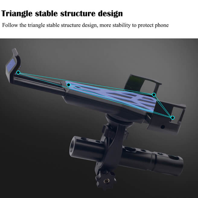 Carbon Fiber Phone Holder Mounted on Handlebar of Bicycle or Motorcycle