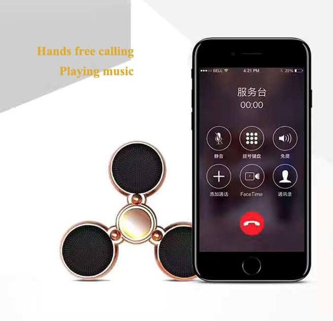 fidget spinner with light and bluetooth speaker